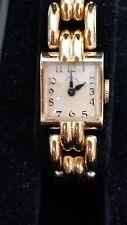 Hamilton 14k Solid Gold Lady's Deco Wristwatch 17j Heavy Gold Bracelet, Ca.1946