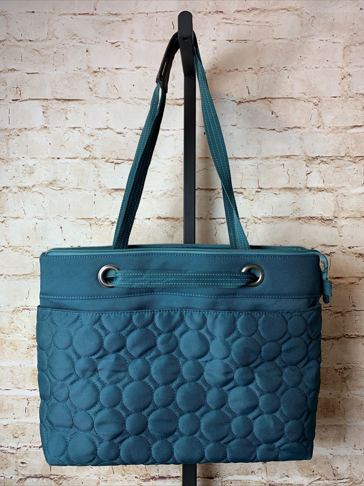 Thirty-One Vary You Quilted Jade Green Tote Bag 19