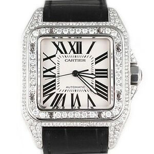 Cartier-Men-039-s-Santos-100-XL-Diamond-Watch-with-Original-Leather-Band-with-Box