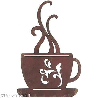 Large Red Metal Coffee Cup Wall Decor Kitchen Restaurant Ebay