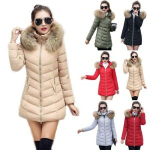 WOMENS-LADIES-QUILTED-WINTER-COAT-PUFFER-FUR-COLLAR-HOODED-JACKET-PARKA-S-3XL-US