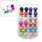 24x Bijoux Femme Paire Boucles D'oreilles Boule Perle Clou Earrings Stud Mode