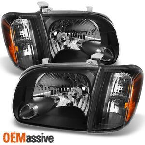 Fits 2005-2006 Tundra Double   Crew Cab [Black] Headlights w/ Corner Lights Pair