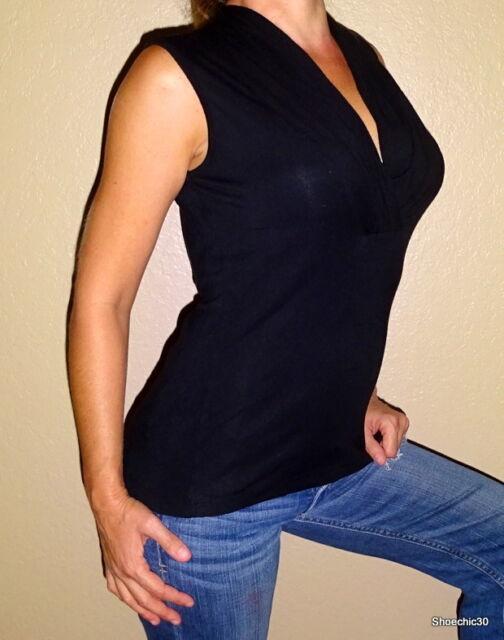 Jillian Jones black casual professional womens knit shirt top | Small | S