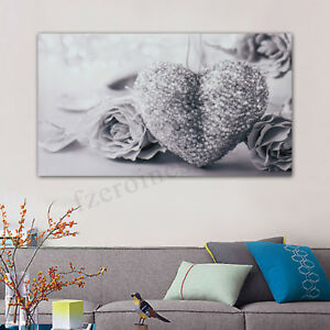 45x80cm-Gray-Heart-Rose-Canvas-Wall-Art-Painting-Pictures-Home-Room-Decor