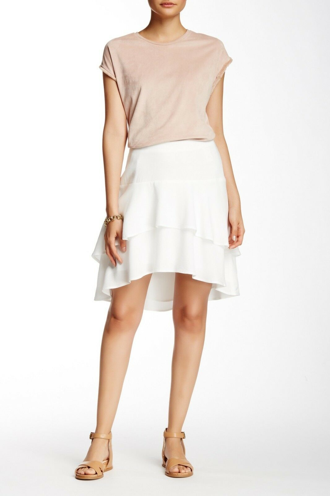 Ella Moss Tired Hi-Lo Skirt WHITE SZ M RETAIL   158