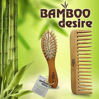 Natural Zero Waste Vegan Bamboo Wood Mini Pocket Hair Brush Detangling Comb Set