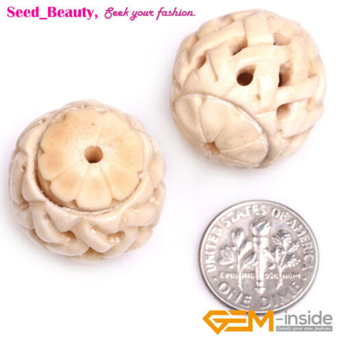 China Classical Hollow Lantern Shape Carved Bone Beads for Jewelry Making