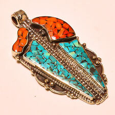 Turquoise With Red Coral Designer Tibetan Silver Jewelry Pendant Size 6.50 CM