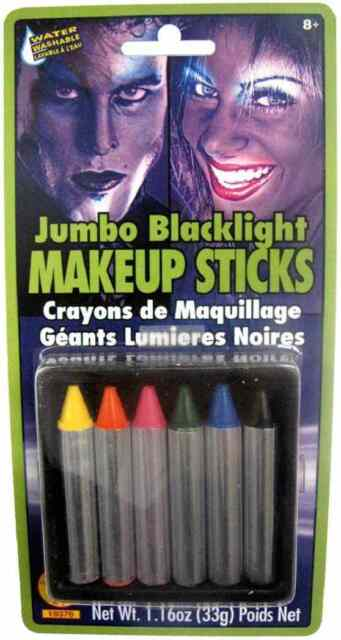 Jumbo Blacklight Reactive Makeup Sticks Fancy Dress Halloween Costume Accessory