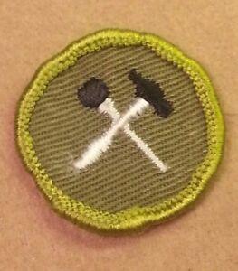 Vintage Boy Scout Merit Badge Home Repairs Type F Rolled Edge Khaki Twill