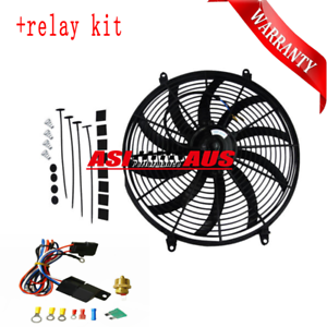 16-034-12V-Pull-Push-Curved-Thermo-Electric-Fan-amp-Mounting-amp-Radiator-Thermostat-kit
