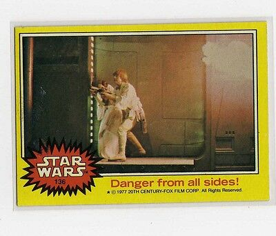 1977 Star Wars Series 3 Yellow Single Card # 136 NM straight from a wax Pack
