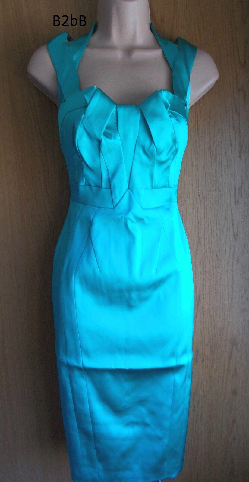 New Karen Millen turquoise signature satin satin satin evening pencil dress Sz RARE 2e13b4