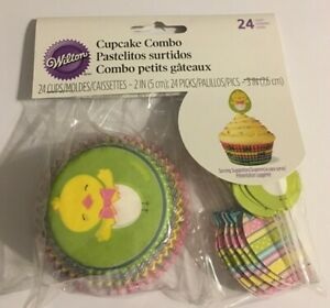 Wilton Cupcake Kit Easter Baking Cups and Picks Pack of 24 Easter Cupcakes