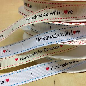 """""""fait Main Par Mamie' ' Handmade With Love"""" Grosgrain étiquettes 1m, 5m Ou 25m Longueur-afficher Le Titre D'origine"""