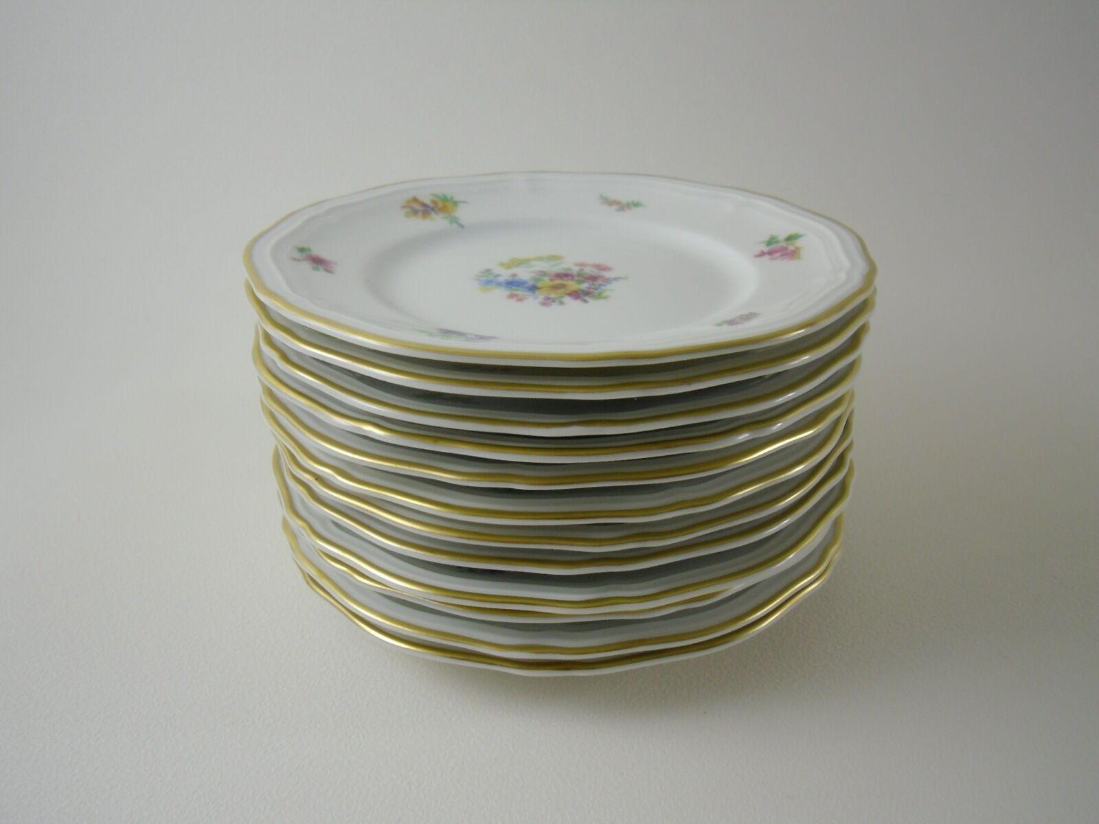 Rosenthal Porcelaine 12 x BrougeTELLER assiette 15,5 cm 2365 fleurs monture en or