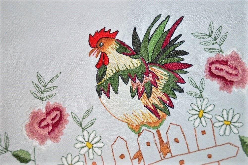 EASTER ROOSTER & THE SWEET FRAGRANCE OF VALENTINE ROSES  VTG GERMAN TABLECLOTH