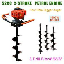 52cc 2 Stroke Petrol Auger Set Hole Digger Earth Auger Machine 468 Bits