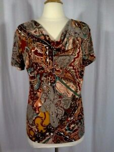 SIZE-M-New-40-00-DRESSBARN-Paisley-Cowl-Neck-Brown-Teal-Sienna-Top-Blouse