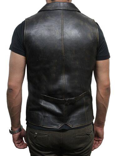 da pelle vera pelle in uomo da motociclista Brandslock in Gilet FwqZFT
