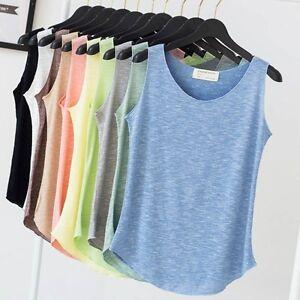 Femme-T-Shirt-Debardeur-Top-100-Coton-Elastique-Dames-Uni-Sans-Manche-Neuf
