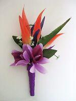Tropical Bird Of Paradise Orange Purple Orchid Silk Flower Wedding Boutonniere