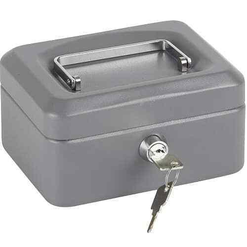 Caja fuerte metalica portatil caudales grande Gris