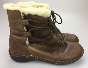 1ec7bd6f586 Details about UGG Australia Caspia 1932 Brown Lace Leather Winter Boots  Women's Size 11