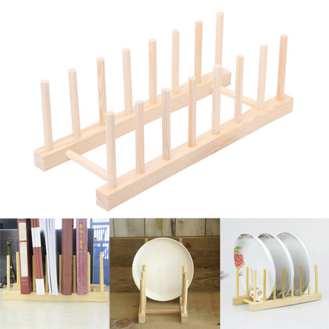 Wooden Plate Stand Wood 7 Dish Rack Pots Cups Display Drainer Holder ...