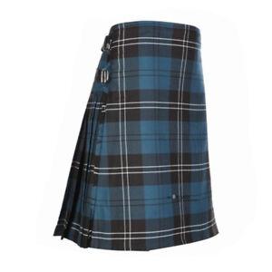 New-Scottish-Tartan-Wedding-Mens-Kilt-8-Yard-Polyviscose-in-Ramsay-Blue-Ancient