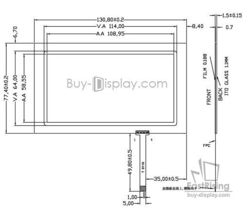 """Salida de fábrica pantalla de panel táctil resistiva de 4.8/"""" pulgadas con conector FPC Gratis"""