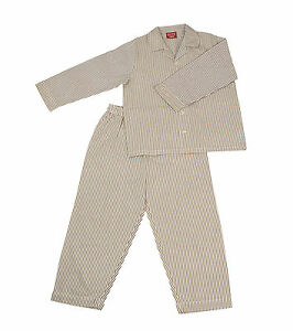 PYJAMA-SUIT-SLEEPWEAR-100-COTTON-WHITE-amp-KHAKI-STRIPES-2-5-YRS
