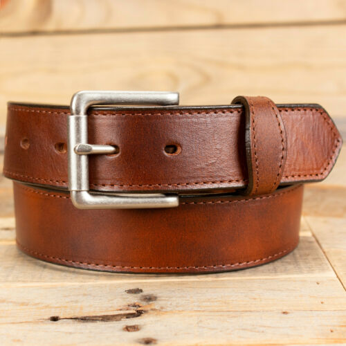 Scalloped Tab Oil Tanned Leather Work Belt Amish Handmade by Yoder Leather