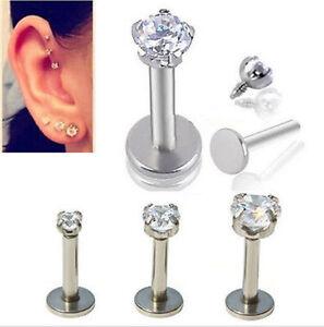 1 Pair 16G CZ Gem Round Tragus Lip Ring Ear Cartilage Stud Earring Body Piercing