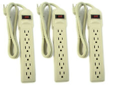 6 AC Outlet 3ft Wall Plug Socket Surge Protector Power Strip Adapter 3-Pack
