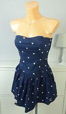 HOLLISTER Kleid Dress Bandeau Kurz Mini Blau Weiß Gr. M 38 (BF193)