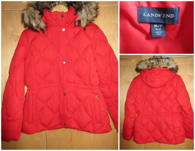 Lands End Womens Down Jacket Faux Fur Trim Hood Red Medium Petite 10 12