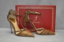 G0 NEW RENE CAOVILLA Brown Ayer Strass T Strap Pumps Heels Shoes Size 38 $1350