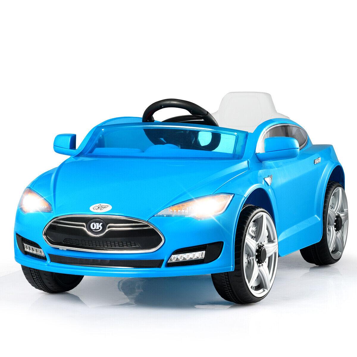 6V Bambini Ride-On auto giocattolo Electric Parental Remote Control LED luci divertimentony blu