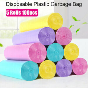 5 Roll Small Garbage Bag Trash Bags Durable Disposable Plastic Home Kitchen v..