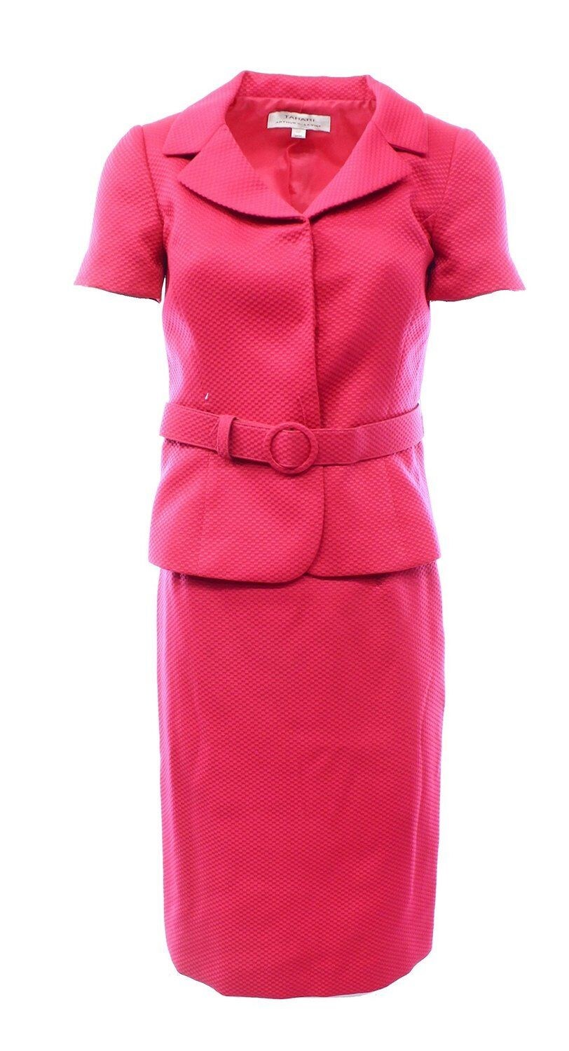 1214 TAHARI NWT WOMENS FLAMINGO PINK TEXTURED RICHARDS SKIRT SUIT 12P