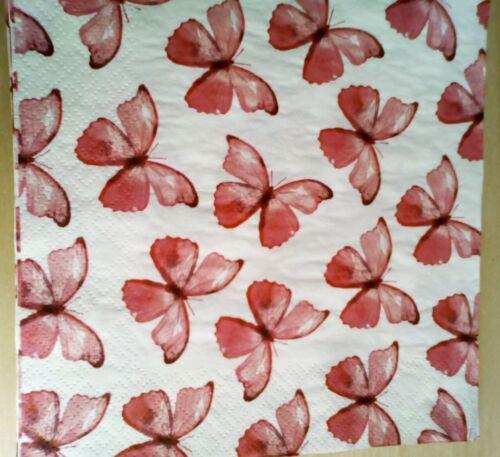 4 X Solo Papel Servilletas//3 capas//decoupage//artesanía//Rosa Mariposas