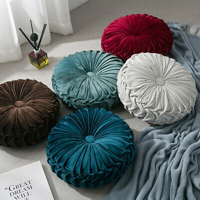 13.8in Velvet Pleated Round Pumpkin Throw Pillow Couch Cushion Floor Pillow