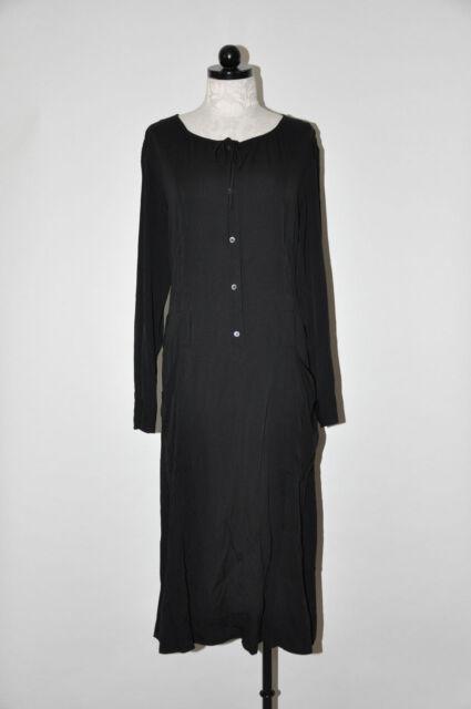 2b0d140ed0 DKNY Donna Karan Black Silk Minimalist Long Sleeve Midi Shirt Dress Women 8