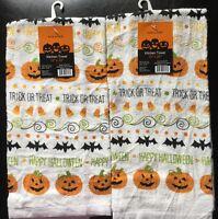 Set De 2 Calabaza De Halloween Del Palo Del Truco O De Vacaciones Cocina Toallas