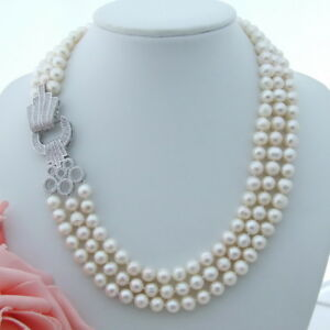"""AB061708 22/"""" 13mm 3 Strands White Baroque Pearl Necklace CZ Connector"""