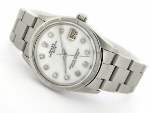 Rolex-Date-Mens-Stainless-Steel-Watch-Engine-Turned-White-MOP-Diamond-Oyster