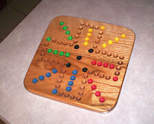 """13 """" TRAVEL SIZE WOOD OAK AGGRAVATION MARBLE GAME BOARD 2-4 PLAYER   NEW"""