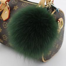 Large Genuine Fox Fur Pom Pom Keychain Bag Charm Gold Ring Fluffy Fur Ball